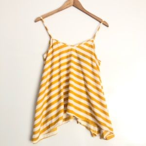 Bebe Yellow and White Striped Tank XS